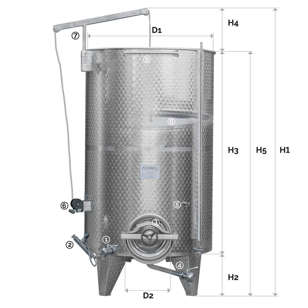 Edelstahlbehälter konischen Boden 2500 Lt. mit Luft-Schwimmdeckel mit Türchen