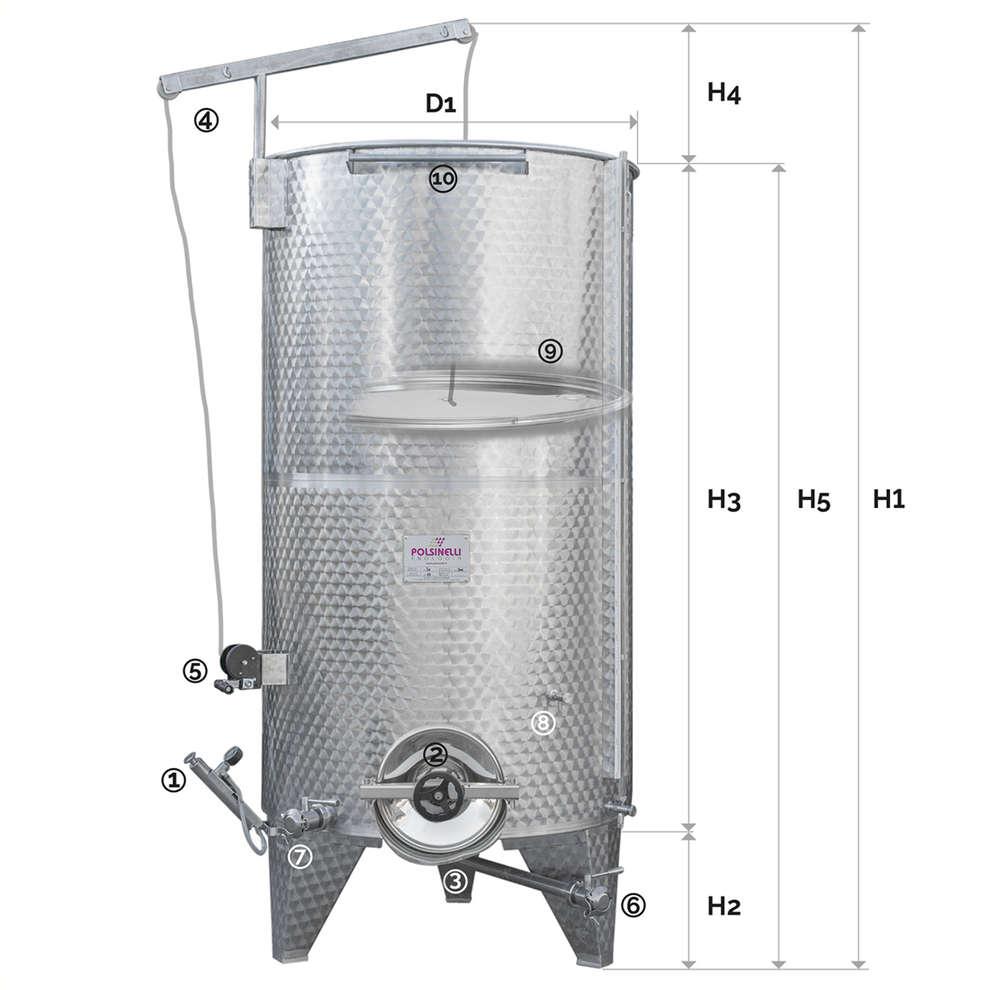 Edelstahlbehälter konischen Boden 3000 Lt. mit Luft-Schwimmdeckel mit Türchen