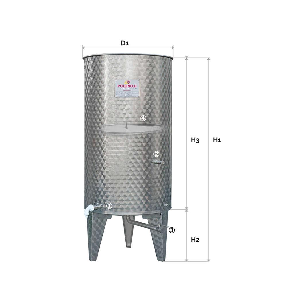 Edelstahlbehälter konischen Boden 500 Lt. mit Luft-Schwimmdeckel mit Türchen
