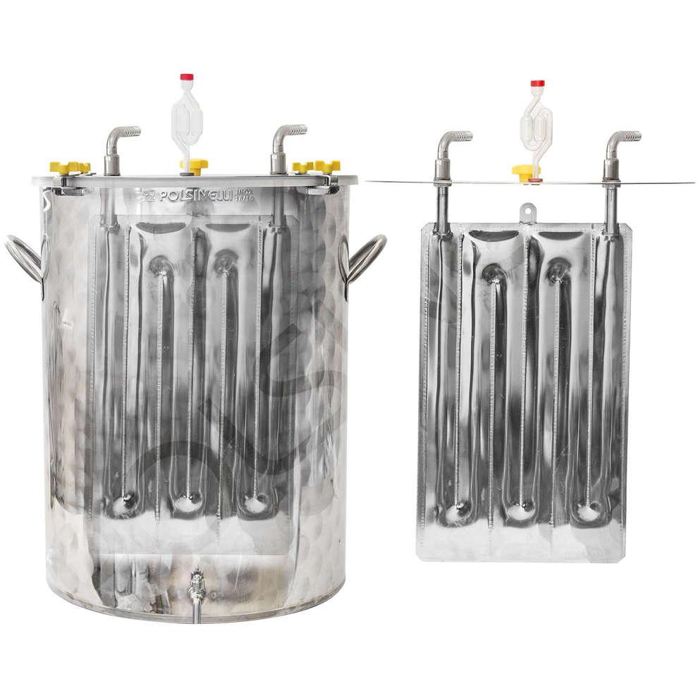 Fermentador inox refrigerado para cerveza 100 L con fundo plano