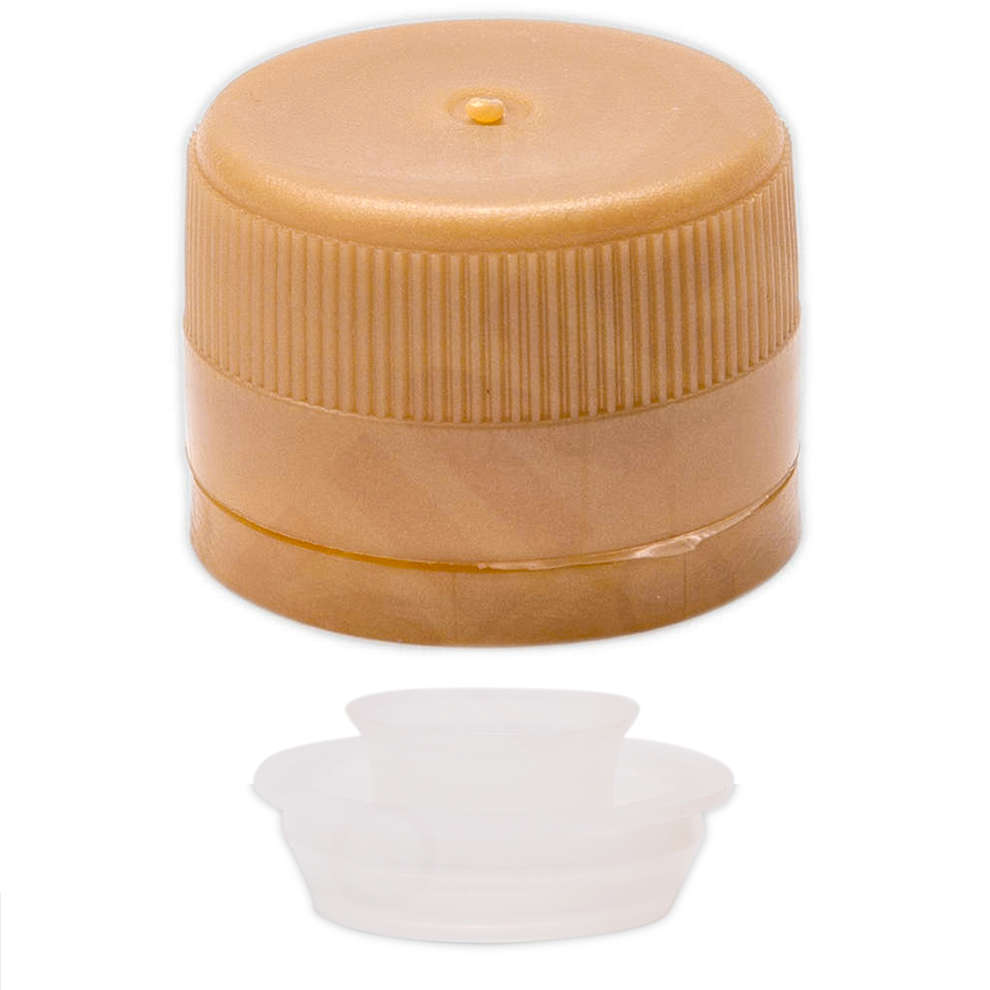 Golden plastic screw cap with drip catcher ⌀31.5 (100 pcs)