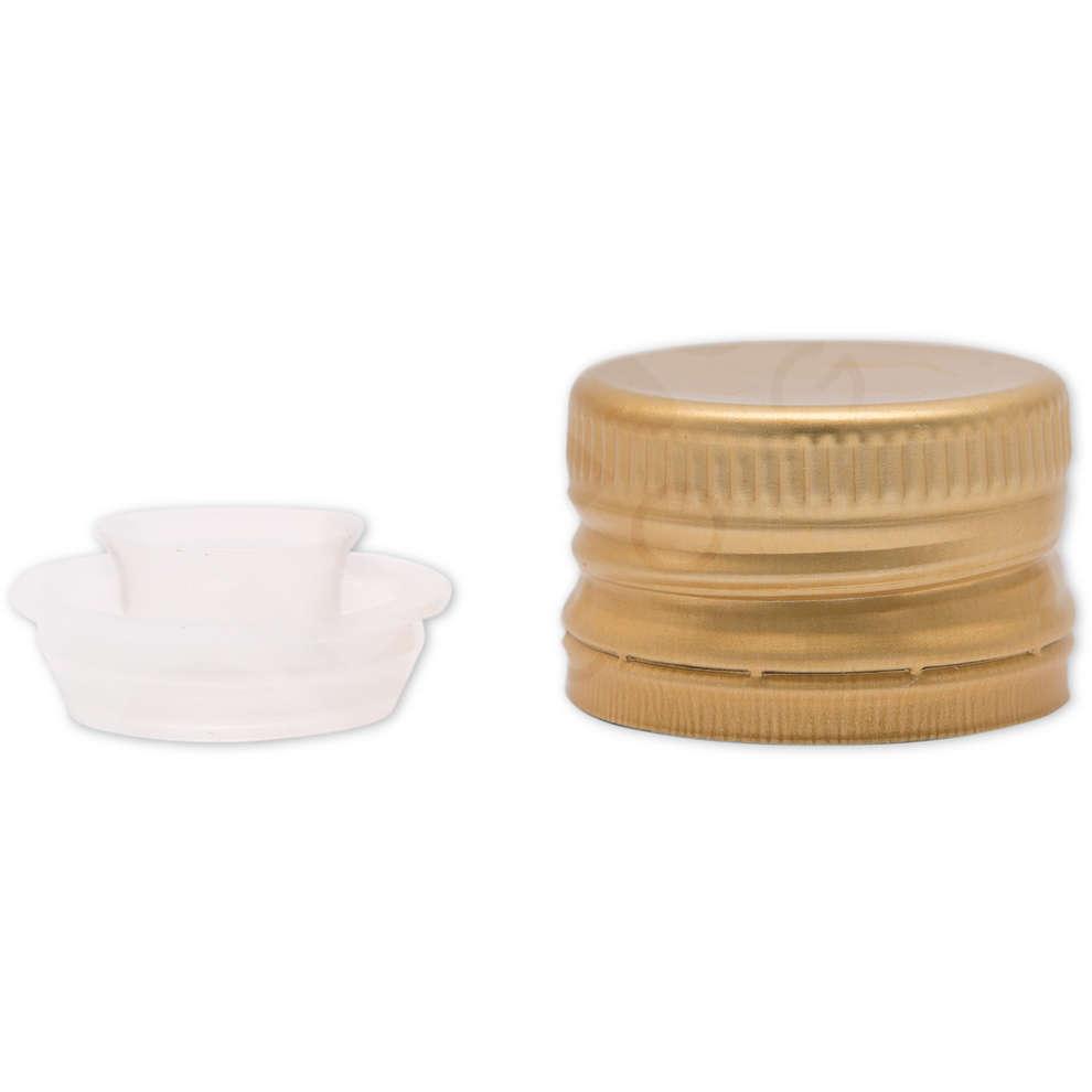 Golden screw cap pre-threaded with drip catcher ⌀35 (100 pcs)