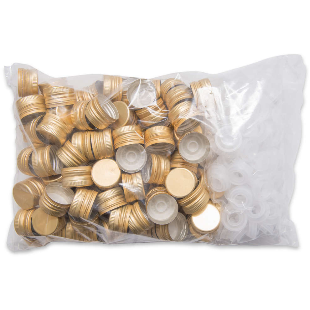 Golden screw cap with drip catcher ⌀35 (100 pcs)