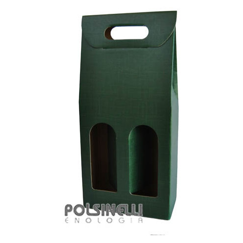 Green carry wine box for 2 bottles (10 pieces)