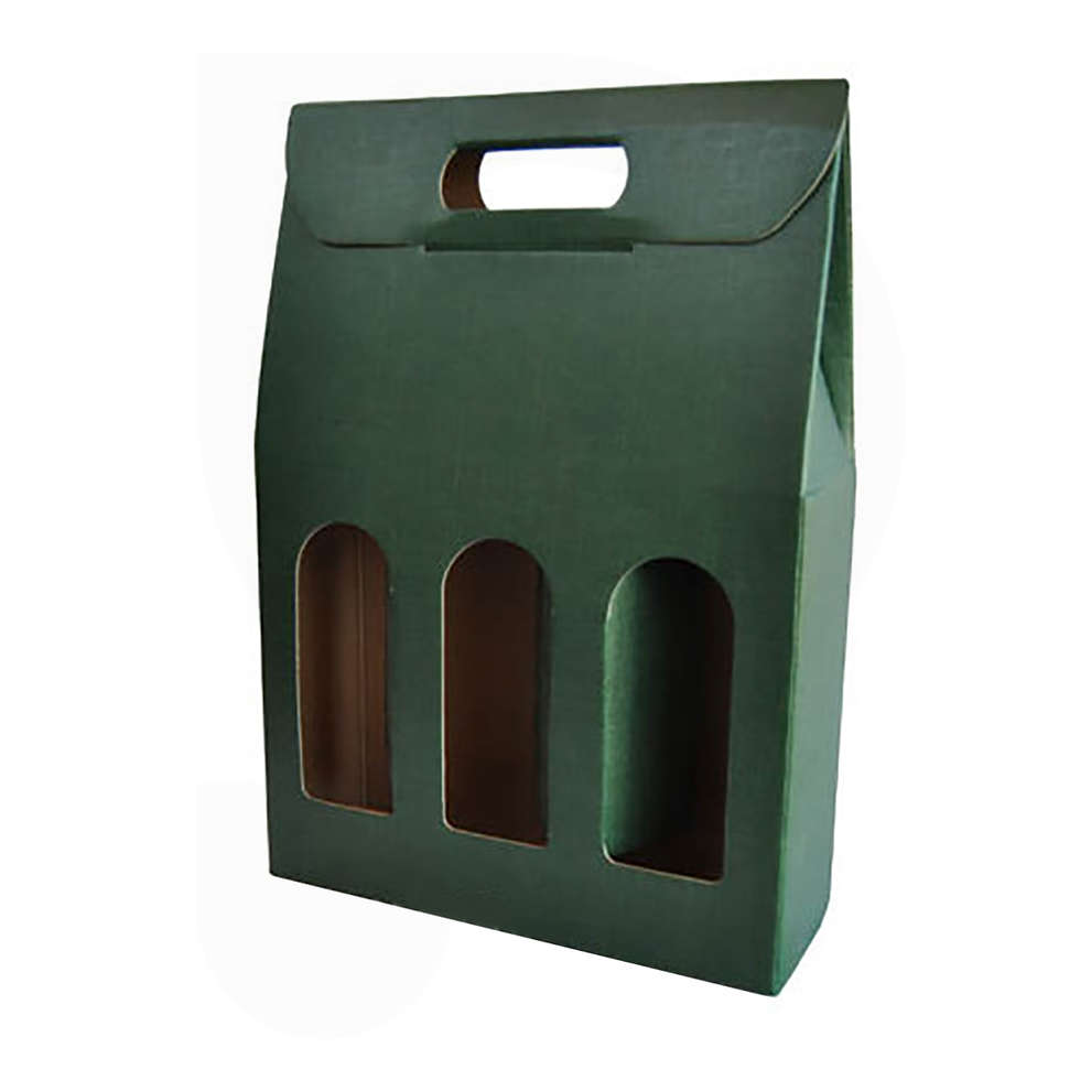 Green carry wine box for 3 bottles (10 pieces)