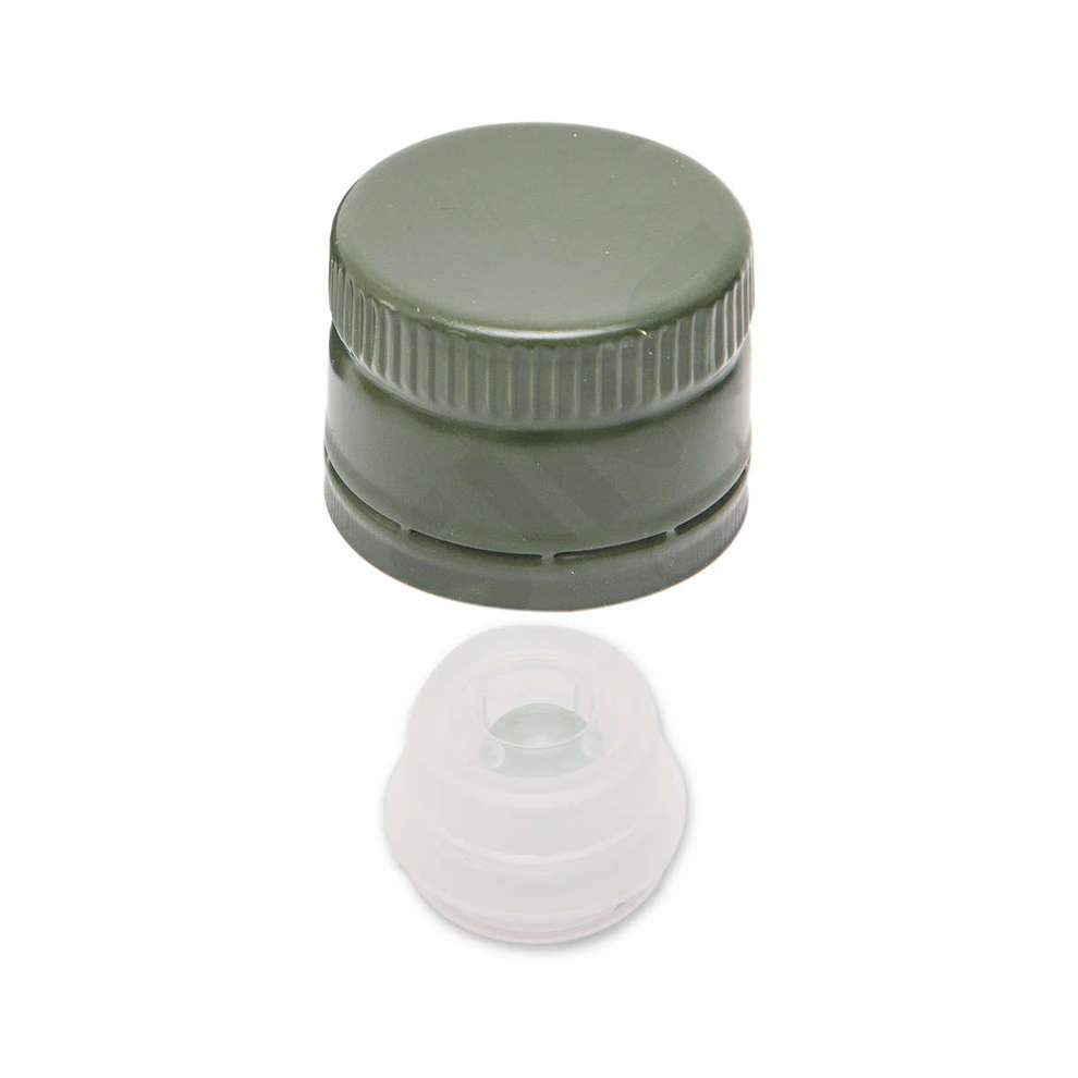Green non-threaded screw cap with drip catcher ø 31,5 (100 Pcs)