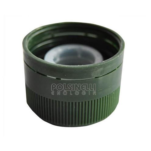 Green plastic screw cap with drip catcher ⌀31.5 (100 pcs)