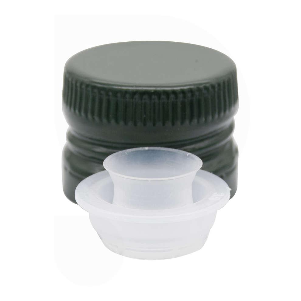 Green pre-threaded screw cap with detachable drip catcher ⌀31.5 (100 pcs)