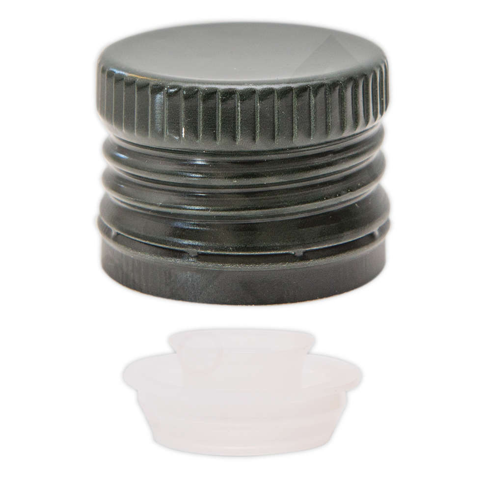 Green screw cap pre-threaded with drip catcher ⌀31.5 (100 pcs)