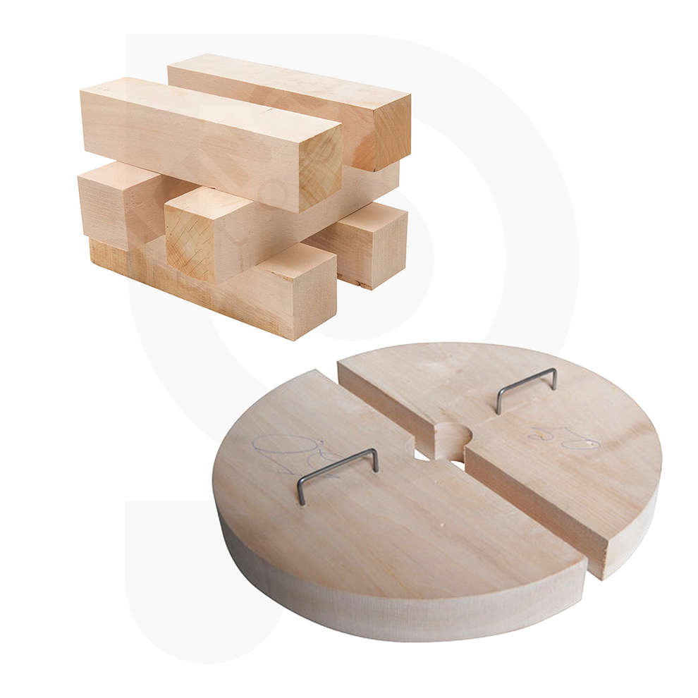 Half discs and wooden pieces kit for press 45