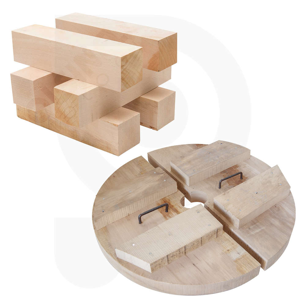 Half discs and wooden pieces kit for press 80