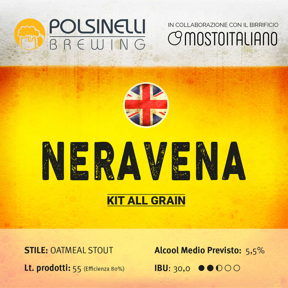 Kit all grain Neravena para 55 L – Oatmeal Stout