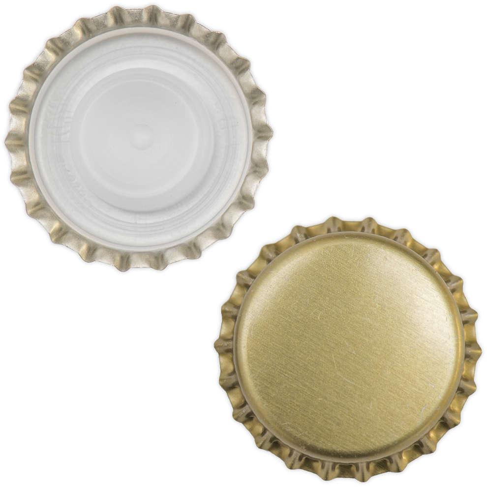 Kronkorken mit Innenkappe goldenen ⌀26 (100 Stück)