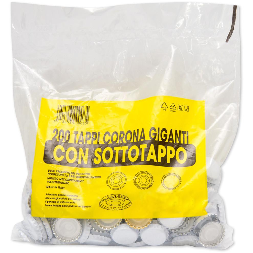 Kronkorken mit Innenkappe weiß ⌀29 (200 Stück)