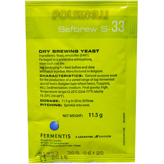 Levadura seca Fermentis Safbrew S-33 (11,5 g)