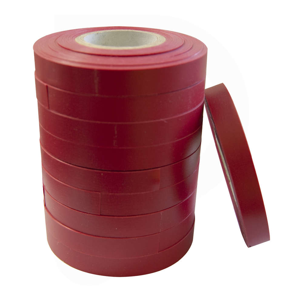 Nastro PVC rosso per legatrice a nastro 0,25 - 26 m (10 pz)