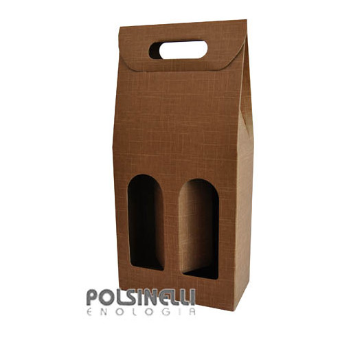 Natural tan carry wine box for 2 bottles (10 pieces)