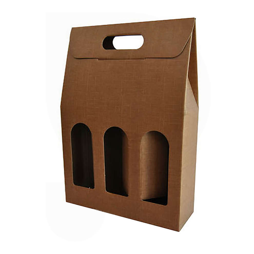 Natural tan carry wine box for 3 bottles (10 pieces)