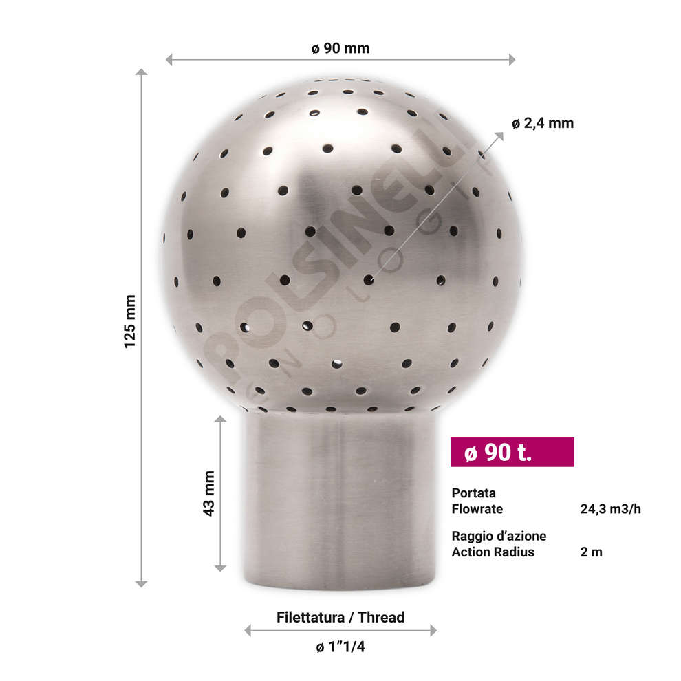 Perforated stainless steel spray ball ø 90