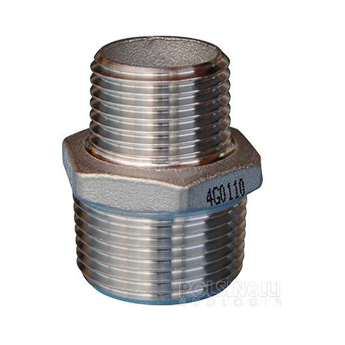 "Reduced steel hexagonal nipple 3/4"" x 1/2"""