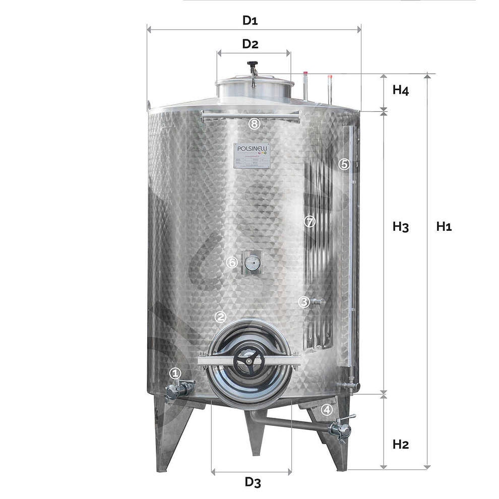 Refrigerated Storage with conical bottom 1500 Lt. with manhole