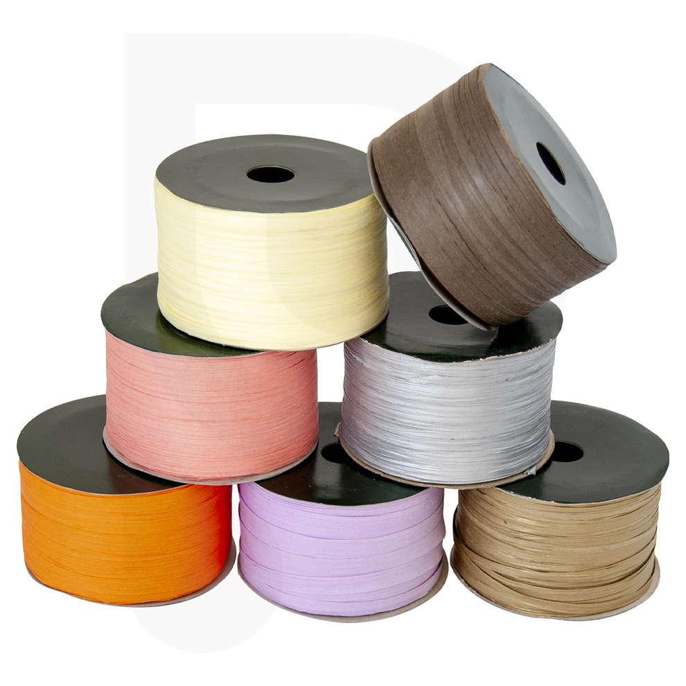 Rollo de cinta de rafia de varios colores 100 mt