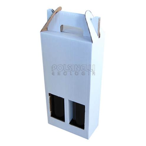 Scatola per bottiglie bianca 2 posti (10 pz)