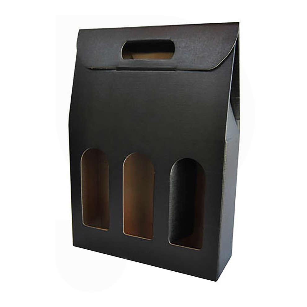 Scatola per bottiglie nera 3 posti (10 pz)