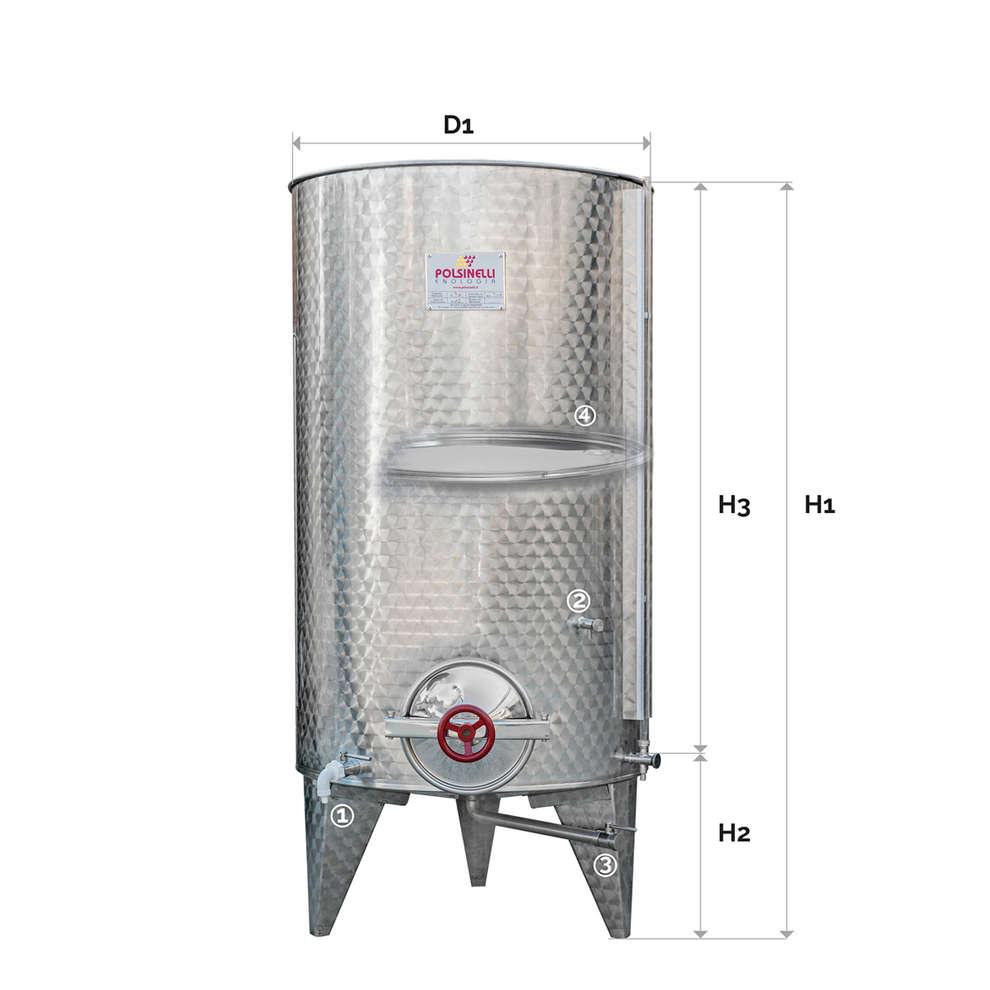 Serbatoio inox 1000 Lt. fondo conico  galleggiante ad aria C/P