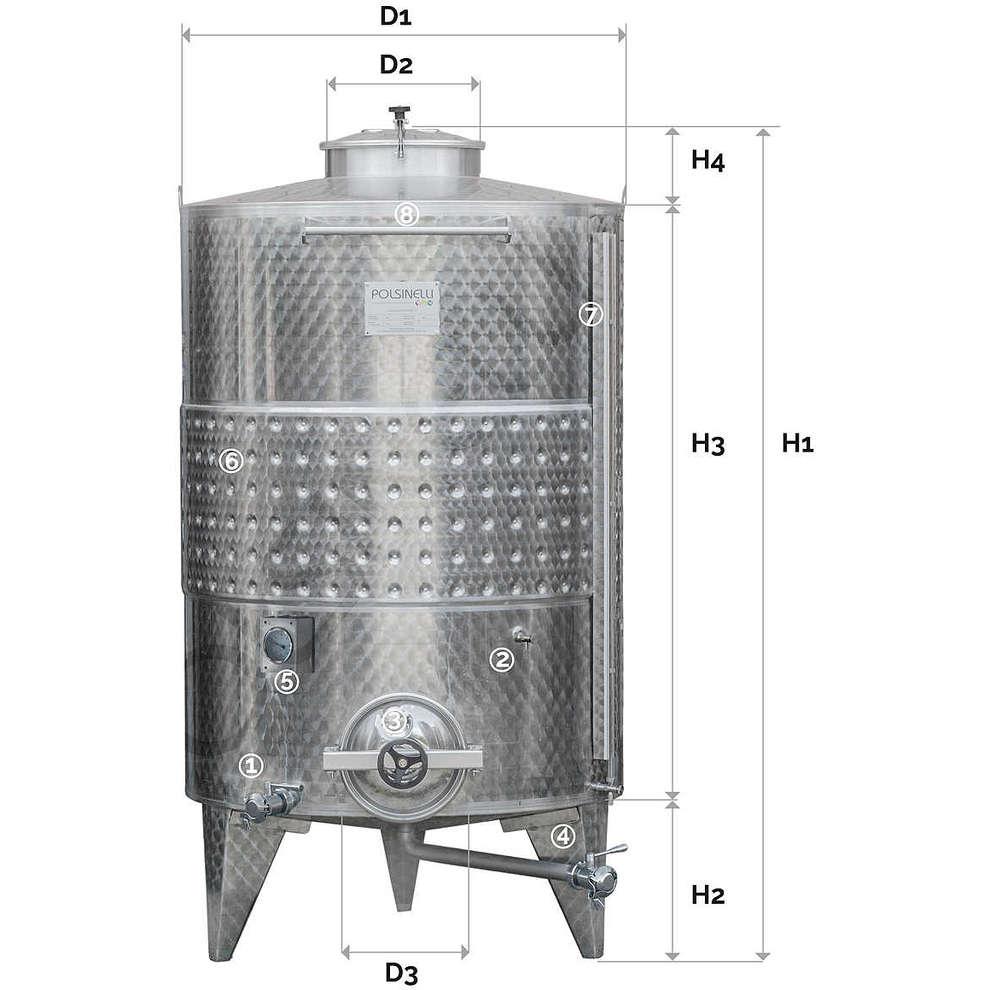 Serbatoio inox 1500 Lt. da stoccaggio fondo conico refrigerato con portella