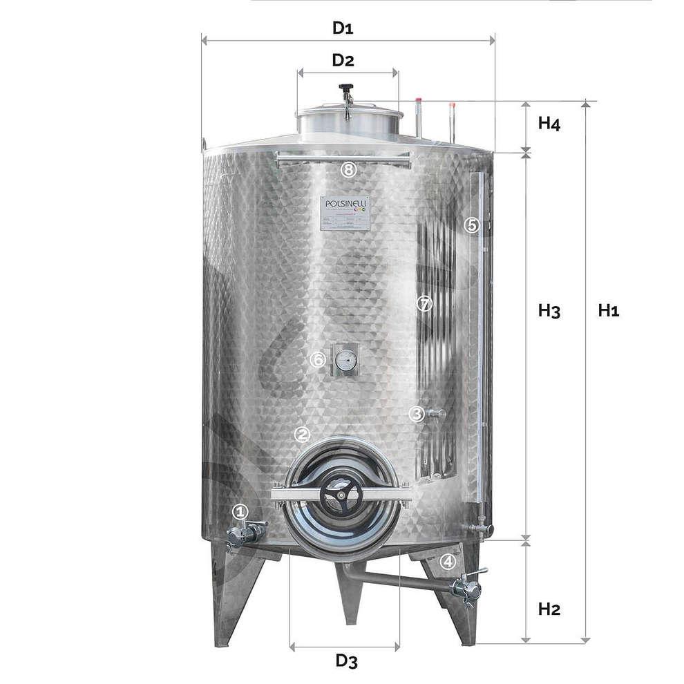 Serbatoio inox 1500 Lt. da stoccaggio refrigerato