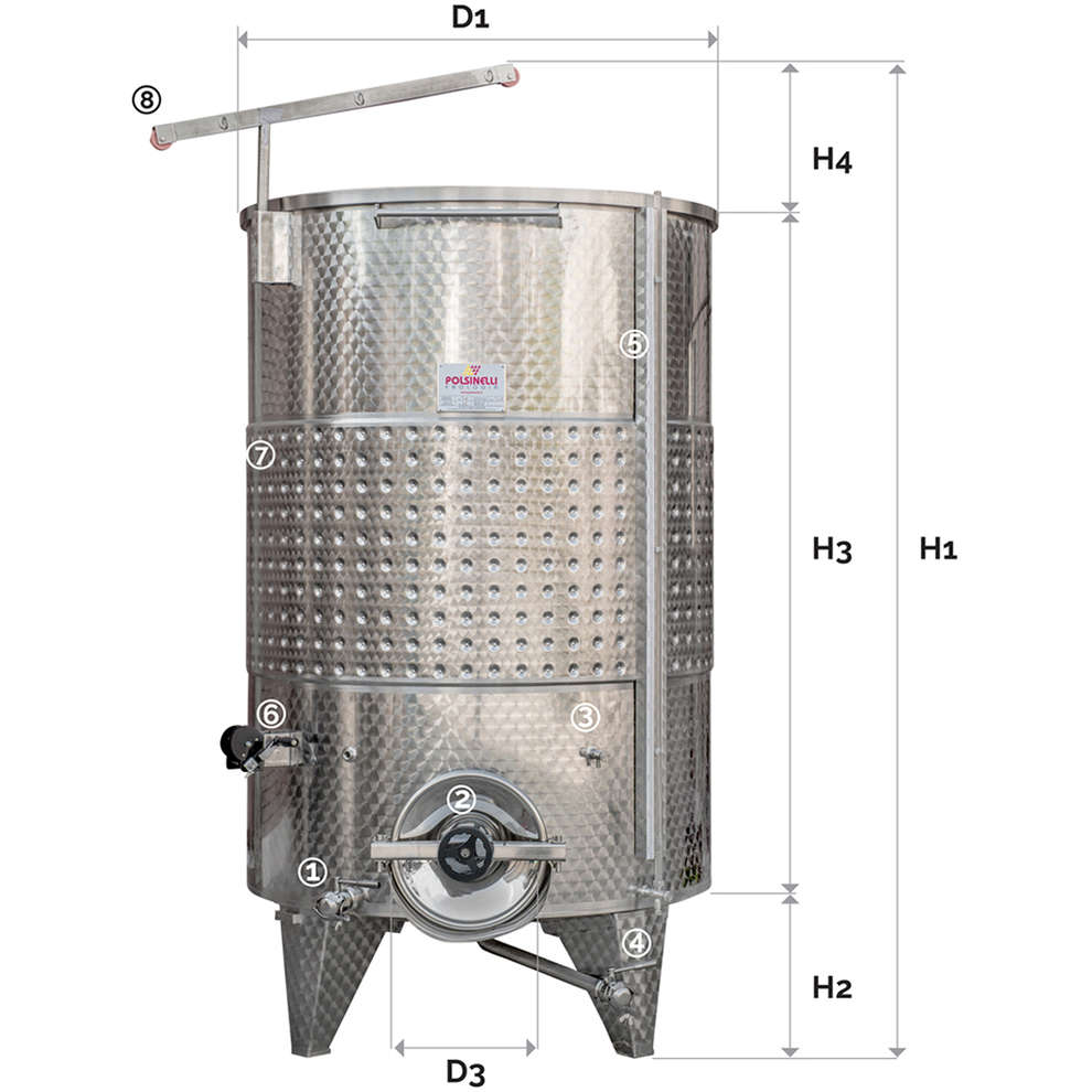 Serbatoio inox 3000 Lt. fondo conico galleggiante ad aria C/P refrigerato