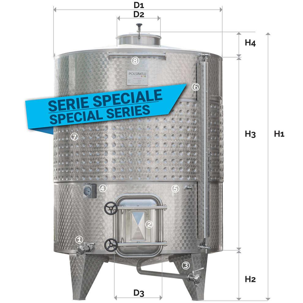 Serbatoio inox 3600 Lt. da stoccaggio fondo conico refrigerato con portella