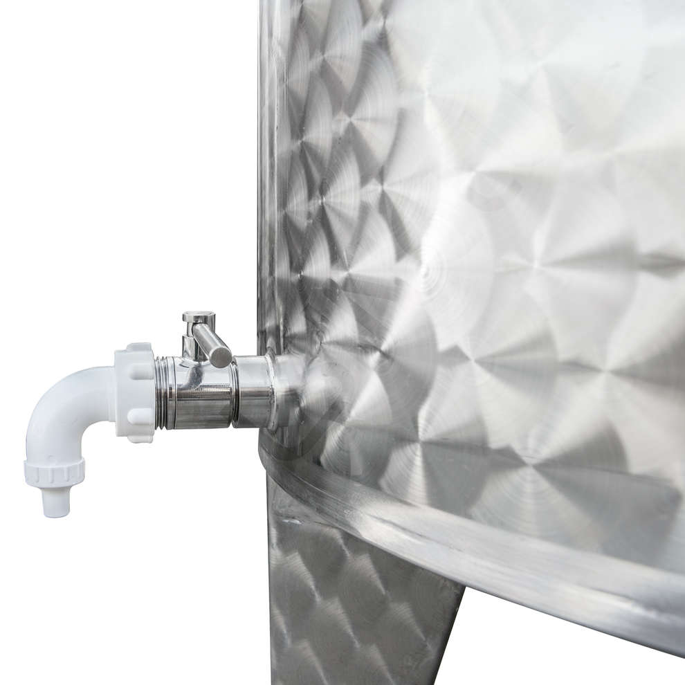 Serbatoio inox 400 L fondo conico galleggiante ad aria
