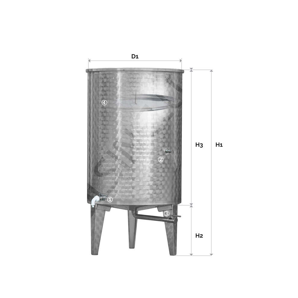 Serbatoio inox 400 Lt. fondo conico galleggiante ad aria