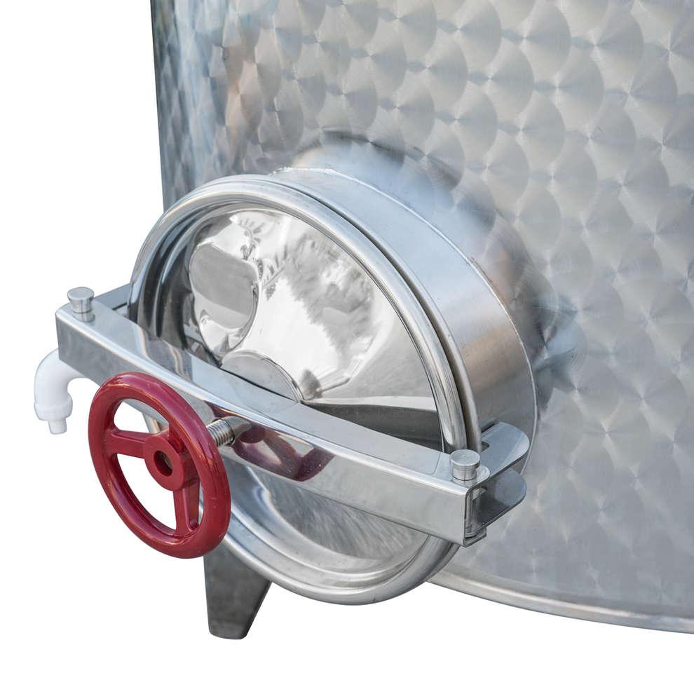 Serbatoio inox 500 L da stoccaggio con portella