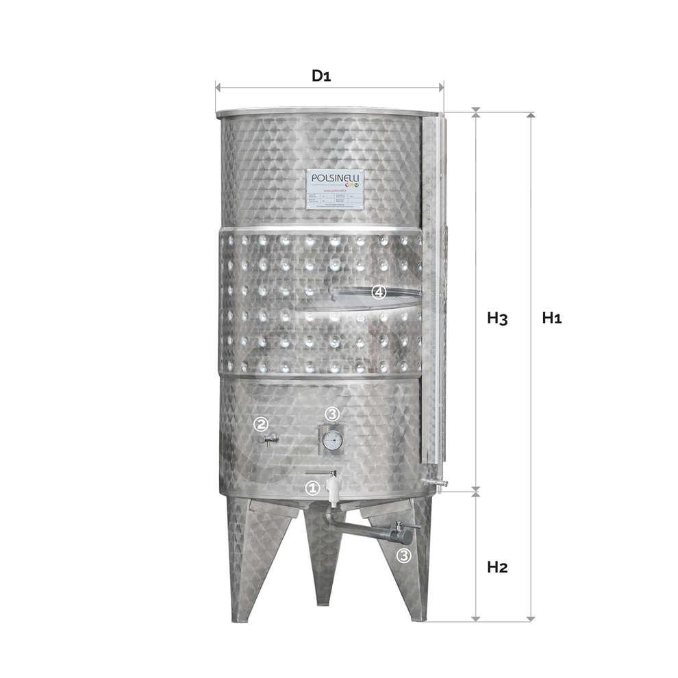Serbatoio inox 500 L fondo conico galleggiante ad aria refrigerato