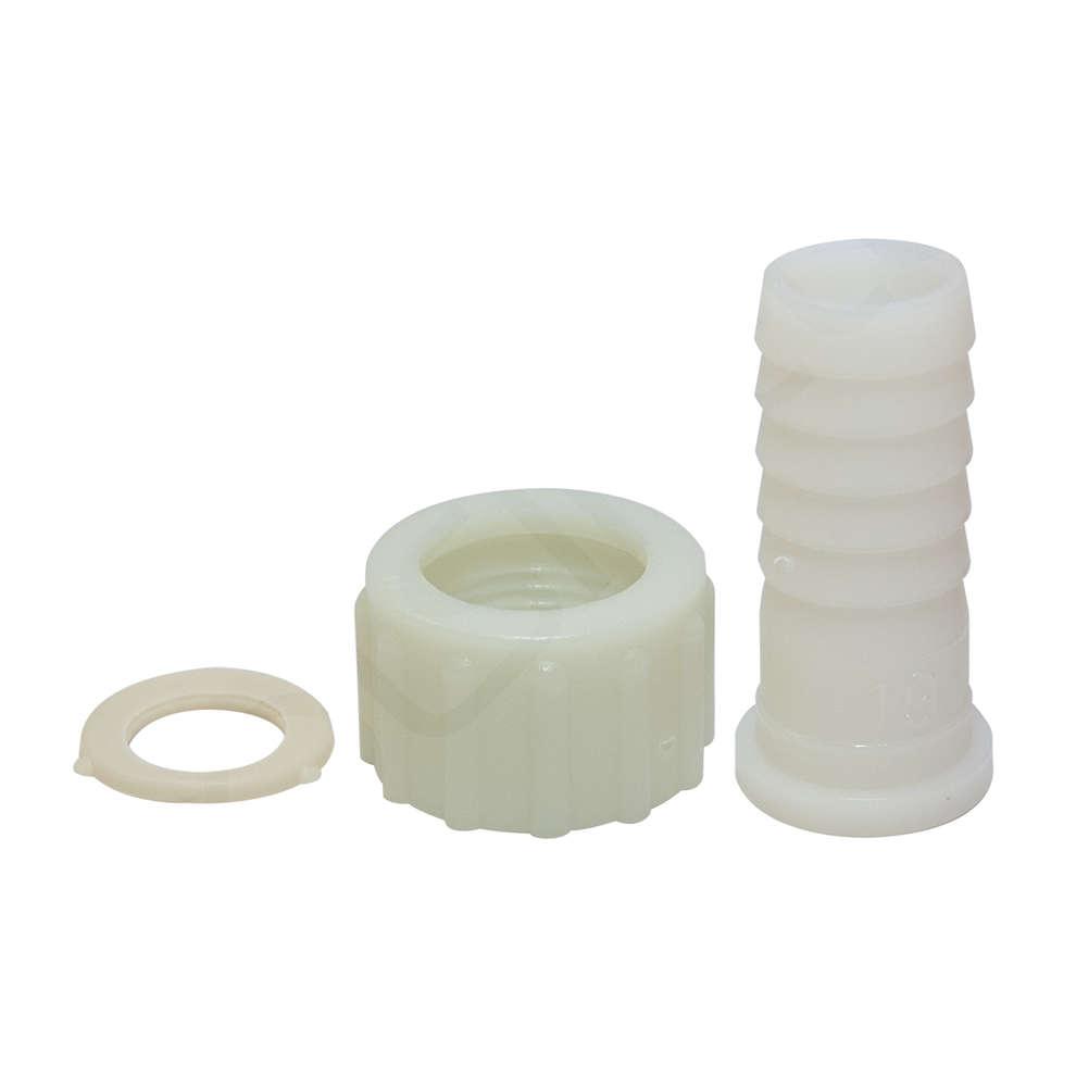 """Soporte de manguera de plástico 3/4 """"d.19 (PZ 4) con tuerca anular y junta"""