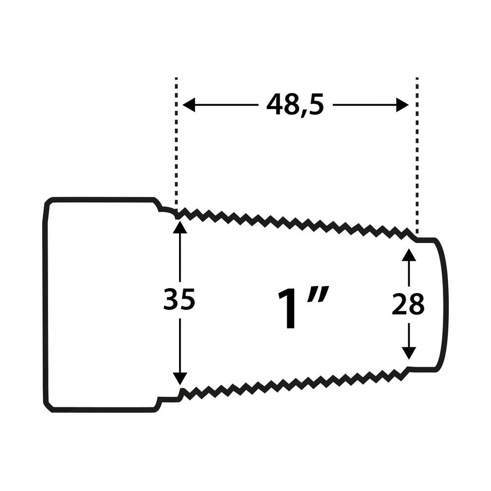 """Stainless Steel conical connection for barrels 1"""" F"""