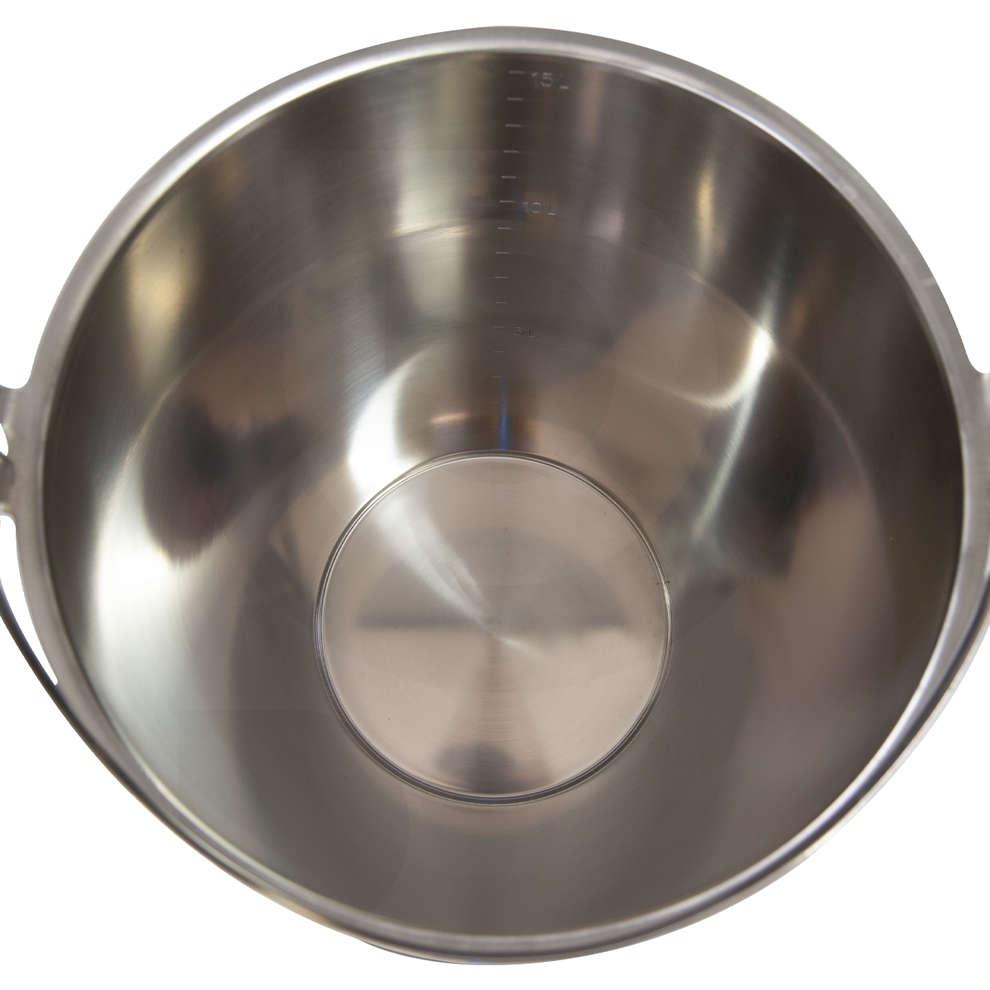 Stainless steel graduated bucket 15 liters