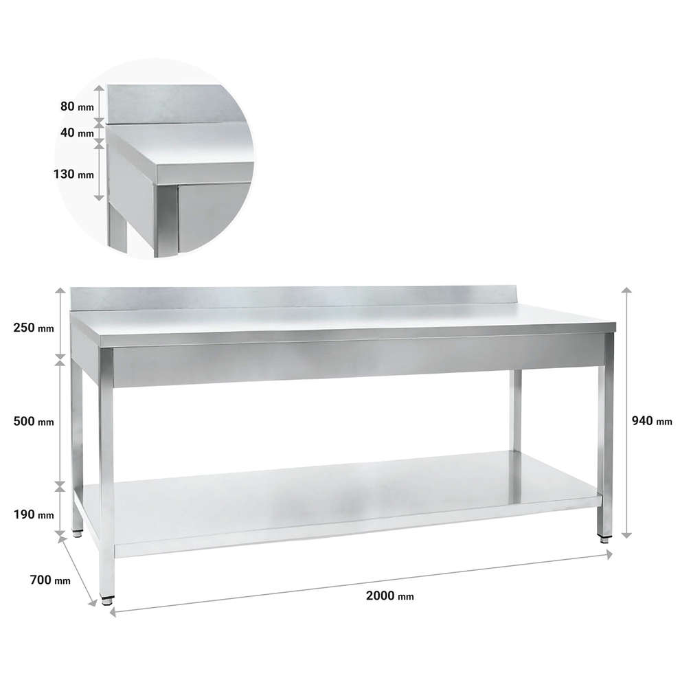 Stainless steel table with shelf 2000 x 700 mm