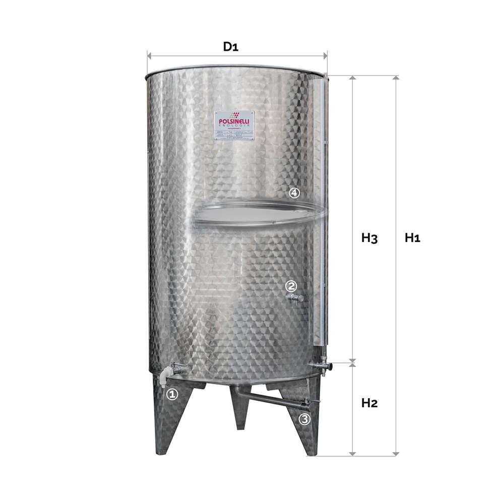 Stainless steel tank with conical bottom 1000 L with air floating lid
