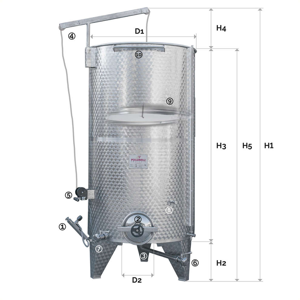 Stainless steel tank with conical bottom 1500 L and air floating lid with manhole