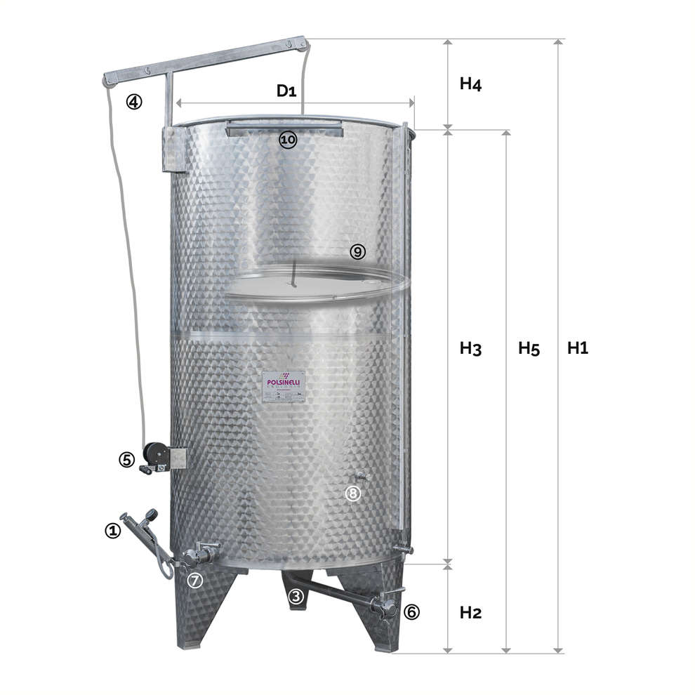 Stainless steel tank with conical bottom 1500 L and air floating lid