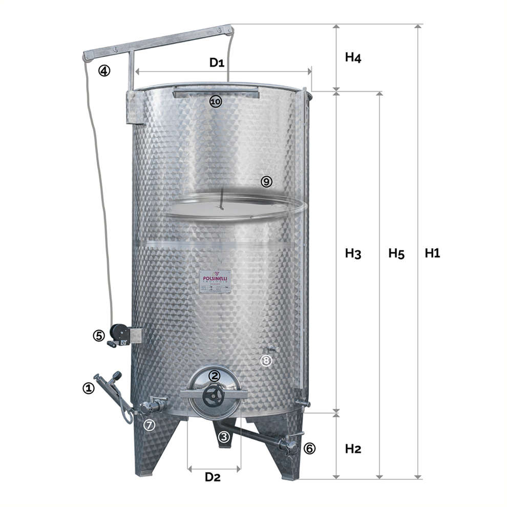 Stainless steel tank with conical bottom 2000 L with air floating lid and manhole