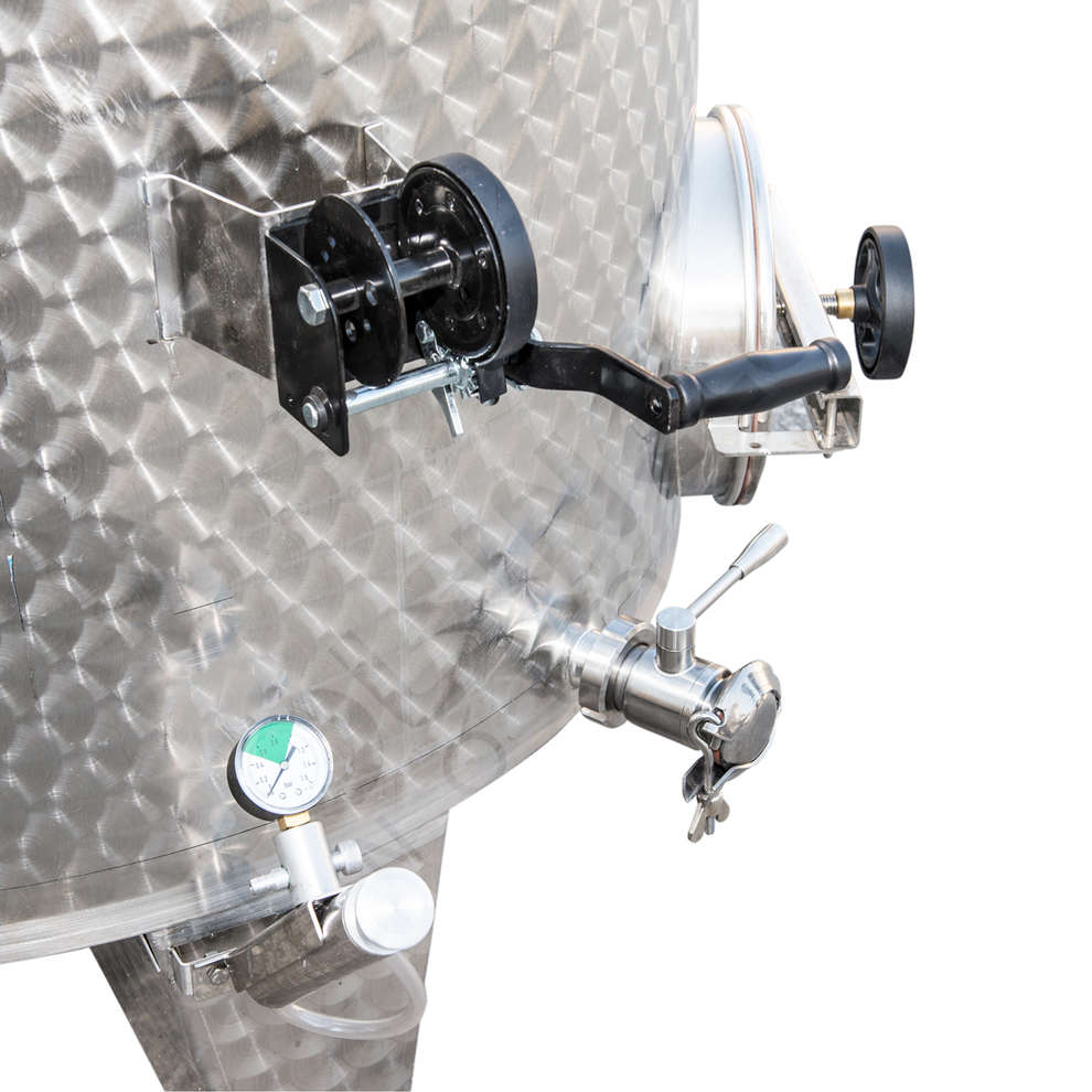 Stainless steel tank with conical bottom 2000 L with air floating lid with manhole