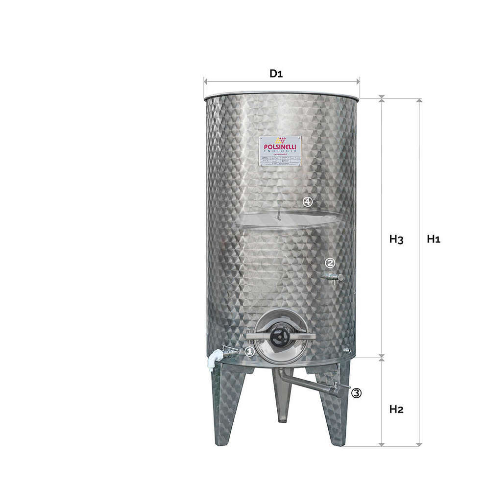 Stainless steel tank with conical bottom 500 L with air floating lid with manhole ∅ 300