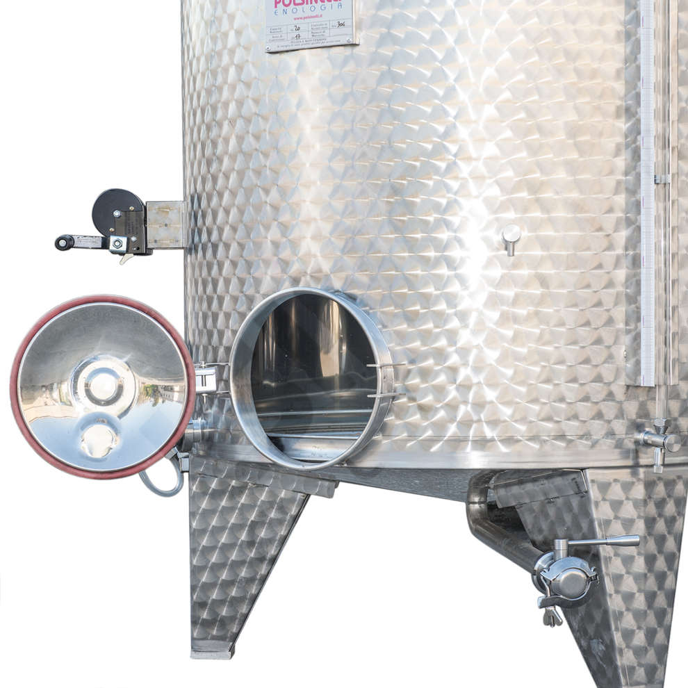 Stainless stell tank with conical bottom 2000 Lt. with air floating lid with manhole
