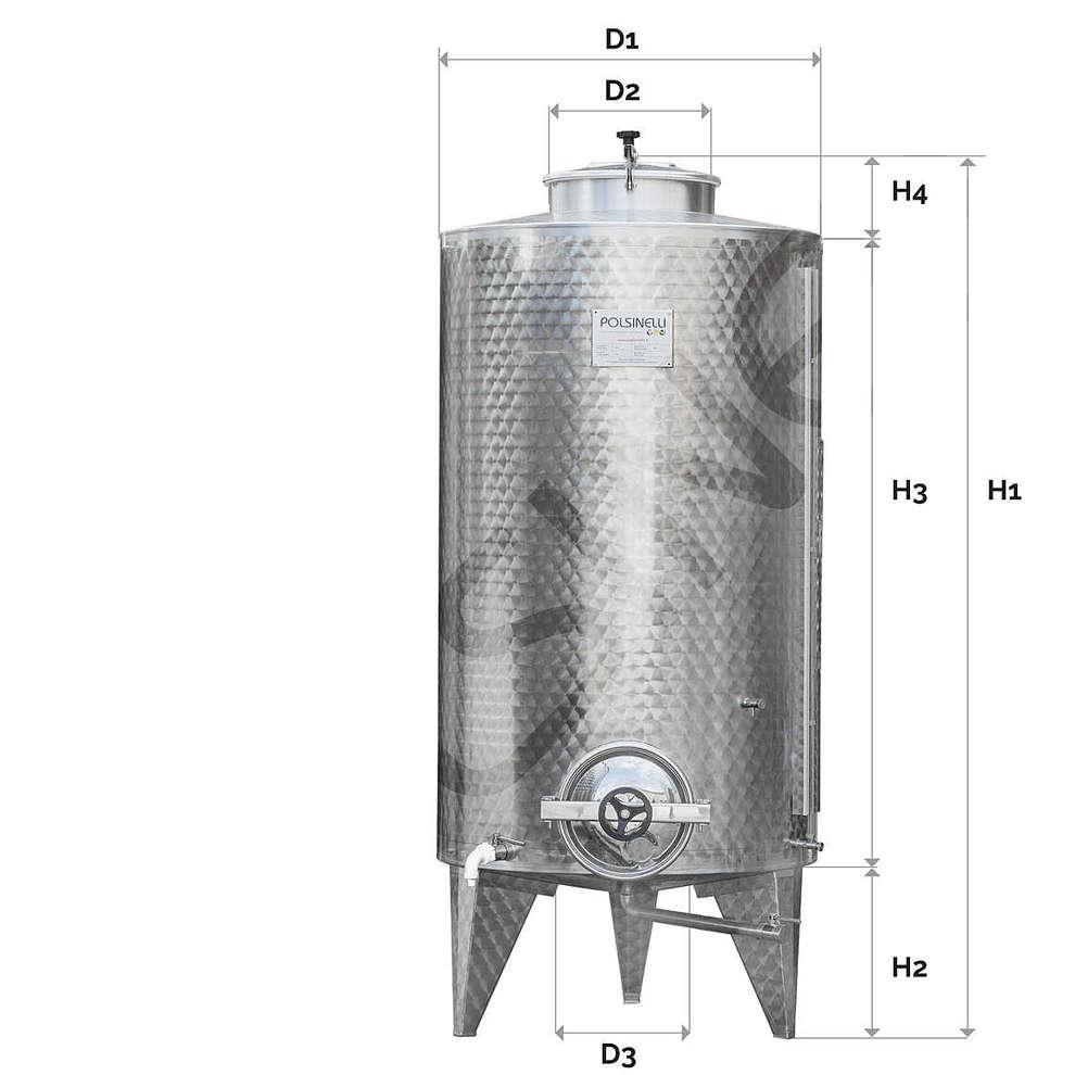 Storage tank 1000 L with manhole