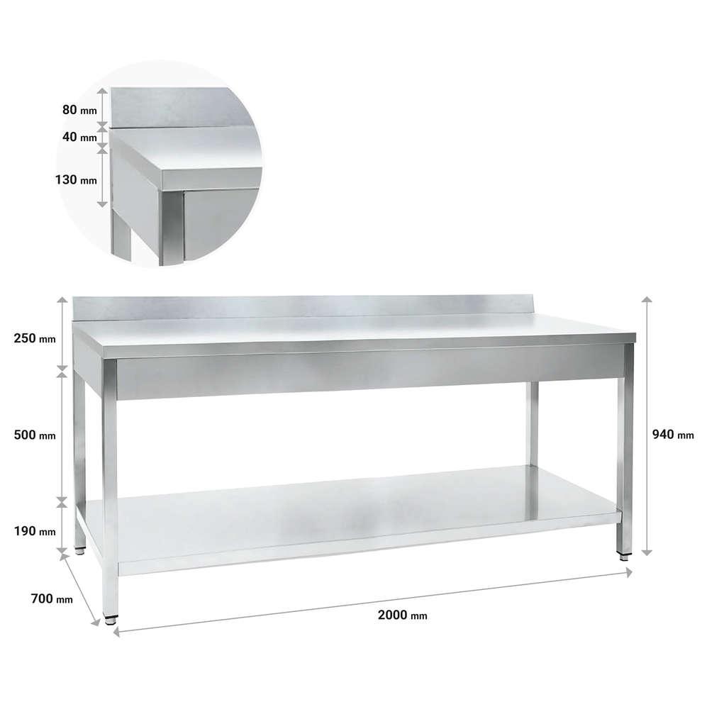 Table en acier inox avec étagère 2000 x 700 mm